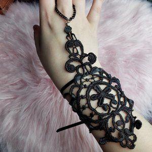 Jewelry - Black Crochet Wrist Gauntlet Style Bracelet